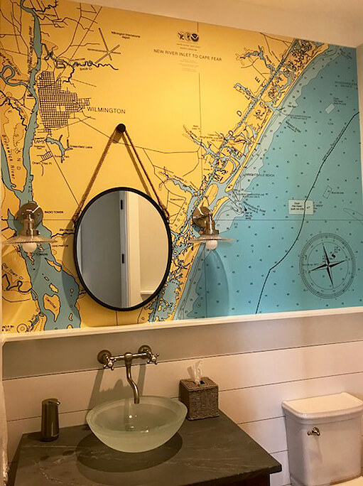 Wilmington NC Custom Bath. nautical chart wallpaper